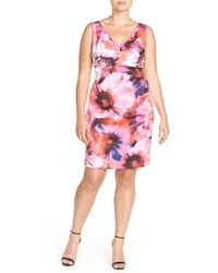 Adrianna Papell | 'photoreal Floral' Origami Pleated Sheath Dress | Lyst