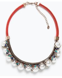Zara Red Chain And Pearl Necklace - Lyst