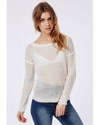 Missguided Off Shoulder Fine Knit Jumper Cream - Lyst