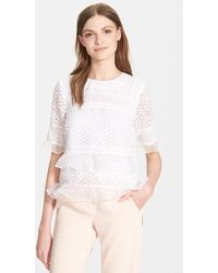 Rebecca Taylor Lace & Ruffle Top - Lyst