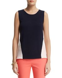 Anne Klein Mixed Media Shell Top - Lyst