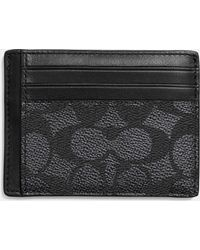 Coach Id Card Case In Embossed Signature Canvas - Lyst