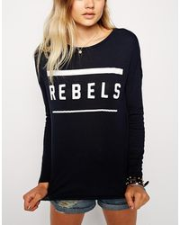 Asos Top in Rib with Rebels Print - Lyst