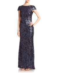 Badgley Mischka Sequined Cowl-Back Gown - Lyst