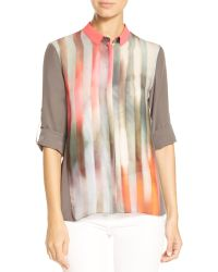 Elie Tahari - Marian Pattern Block Silk Blouse - Lyst