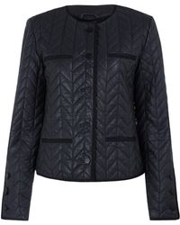 Day Birger Et Mikkelsen Navy Day Merkez Collarless Quilt Leather Jacket - Lyst