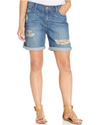 Calvin Klein Jeans Destroyed Boyfriend Shorts blue - Lyst