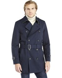 Hart Schaffner Marx Navy Double-Breasted Belted Trench Coat - Lyst