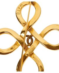Chanel Pre-Owned Loop Cross Brooch - Lyst