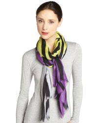 Mir | Violet And Yellow 'tiger' Cashmere Blend Scarf | Lyst