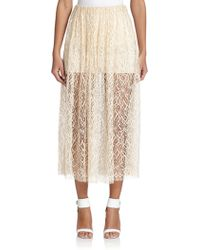 Adam Lippes Double-Layer Lace Midi Skirt - Lyst