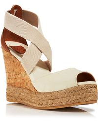 Tory Burch Peep Toe Canvas Platform Sandals - Cork Wedge Heel - Lyst