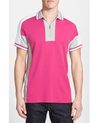 Bugatchi Colorblocked Cotton Polo Shirt pink - Lyst