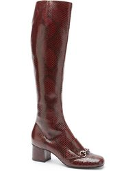 Gucci | Lillian Leather Horsebit Kneehigh Boots | Lyst