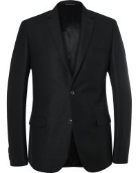 Calvin Klein - Black Crosby Slim-fit Wool, Cotton And Linen-blend Blazer - Lyst