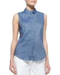 Victoria Beckham Sleeveless Chambray 50s Top - Lyst