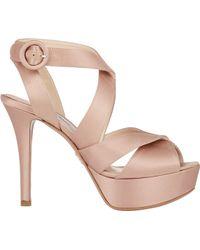 Prada Satin Crisscross-Strap Platform Sandals - Lyst