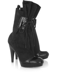 Vivienne Westwood - Patent Leather-trimmed Suede Boots - Lyst