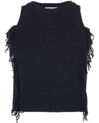 3.1 Phillip Lim | Navy Cropped Tank With Fringe | Lyst