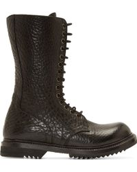 Rick Owens Black Grained Leather Army Sole Boots - Lyst