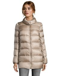 Moncler Beige and Gold Black Nylon Box Quilted Torcy Down Coat - Lyst