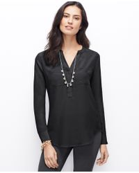 Ann Taylor Split Neck Silk Tunic - Lyst