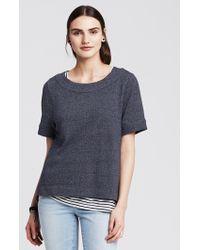 Banana Republic Chambray Short-Sleeve Sweatshirt - Lyst