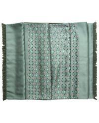 Hermes Preowned Grey Green Duck Pattern Angora Silk Scarf - Lyst