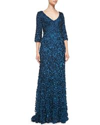 Theia 34sleeve Beaded Petal Gown - Lyst