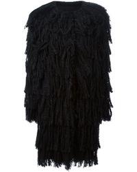 Lanvin Fringed Tweed Coat - Lyst