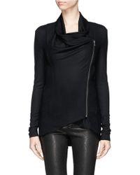 Helmut Lang 'Sonar' Drape Front Wool Knit Jacket - Lyst