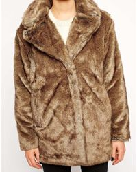 Selected Linea Coat In Faux Fur - Lyst