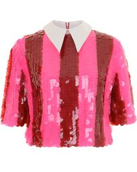 House Of Holland Pink Stripe Sequin Shirt - Lyst