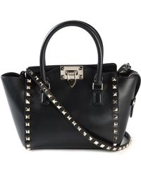 Valentino Mini Rockstud Calf-Leather Trapeze Tote - Lyst