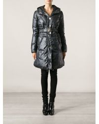 Versace Belted Padded Coat - Lyst