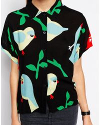 Lazy Oaf Short Sleeved Shirt With Parrot Bird Print - Lyst