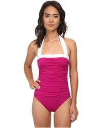 Lauren by Ralph Lauren Bel Aire Solids Shirred Bandeau Mio Slimming Fit One-Piece - Lyst