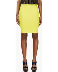 McQ by Alexander McQueen Chartreuse Stretch Pencil Skirt - Lyst