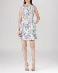 Reiss Dress - Clemens Jacquard blue - Lyst