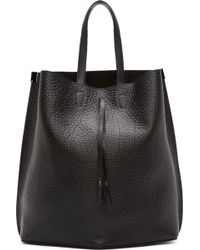 Maison Margiela Black Grained Leather Flat_Back Tote - Lyst