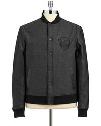 Guess Mixed Media Bomber Jacket - Lyst