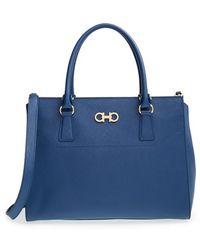 Ferragamo 'Large Beky' Saffiano Leather Tote blue - Lyst