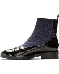 Christopher Kane Navy Snake Elastic Brogued Chelsea Boots - Lyst