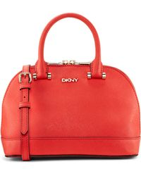 DKNY Saffiano Leather Mini Top Handle Bag - Lyst