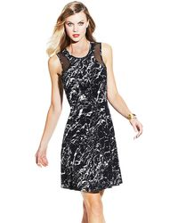 Vince Camuto Sheer Inset Marble Stone Dress - Lyst