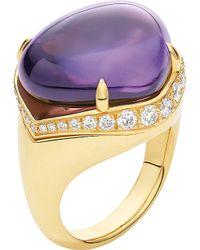 bvlgari eden sassi 18ct yellowgold diamond and amethyst ring lyst