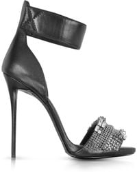 Giuseppe Zanotti Black Leather Embellished Ankle Strap Sandal - Lyst