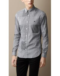 Burberry Slim Fit Cotton Gingham Jacquard Shirt - Lyst