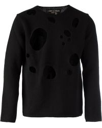 Comme Des Garçons Distressed Sweater - Lyst