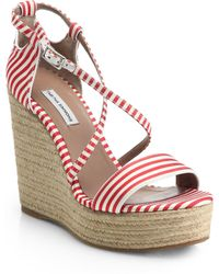 Tabitha Simmons Jenny Striped Espadrille Wedge Sandals - Lyst